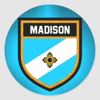 Madison Flag Round Sticker
