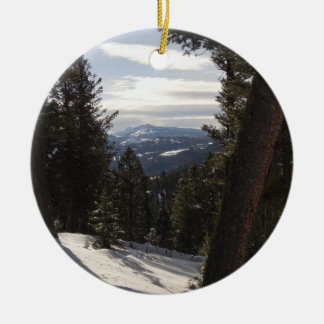 Madison Mountains in Winter in Montana Ceramic Ornament