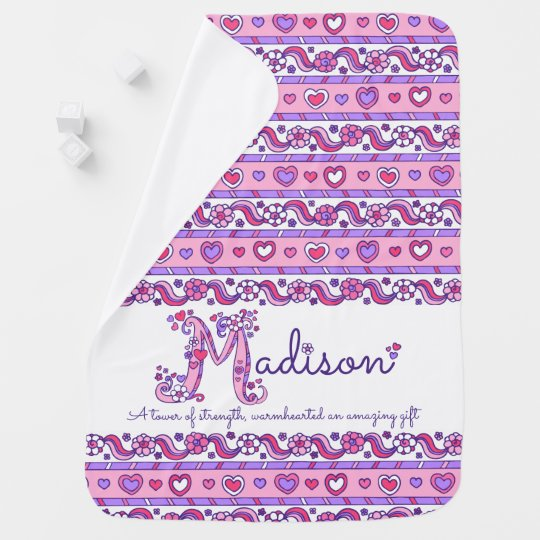 Madison personalized M name meaning baby blanket