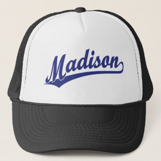Madison script logo in blue trucker hat