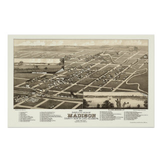 Madison, SD Panoramic Map - 1883 Poster