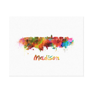 Madison skyline in watercolor canvas print
