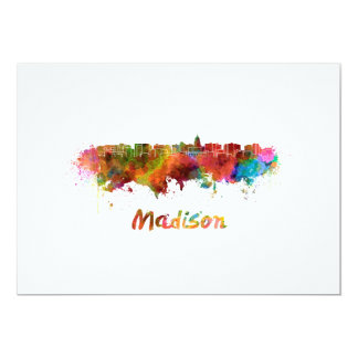 Madison skyline in watercolor card