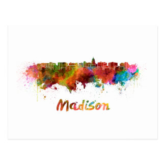 Madison skyline in watercolor postcard
