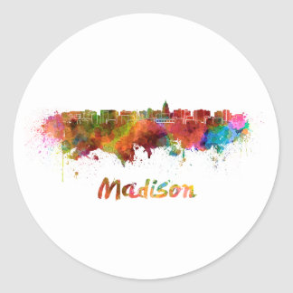 Madison skyline in watercolor round sticker