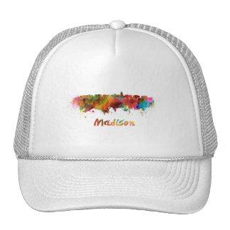 Madison skyline in watercolor trucker hat