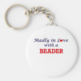 Madly in love with a Beader Basic Round Button Keychain