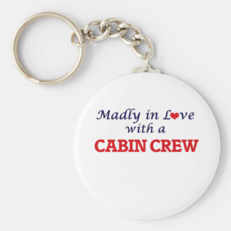 Madly in love with a Cabin Crew Basic Round Button Keychain