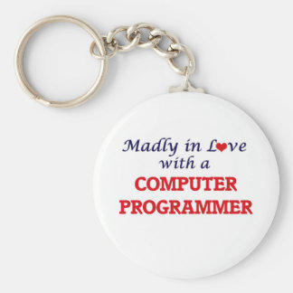 Madly in love with a Computer Programmer Basic Round Button Keychain