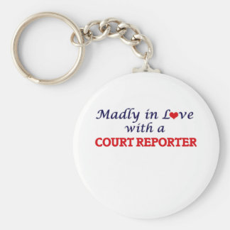 Madly in love with a Court Reporter Basic Round Button Keychain