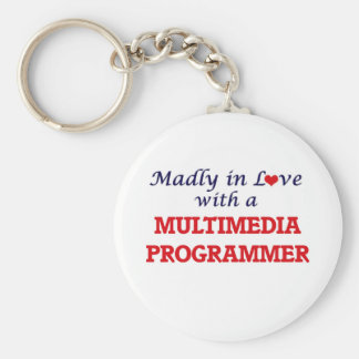 Madly in love with a Multimedia Programmer Basic Round Button Keychain