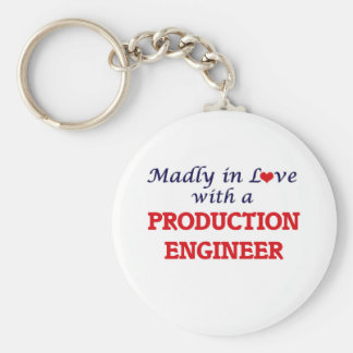 Madly in love with a Production Engineer Basic Round Button Keychain