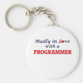 Madly in love with a Programmer Basic Round Button Keychain