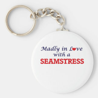 Madly in love with a Seamstress Basic Round Button Keychain
