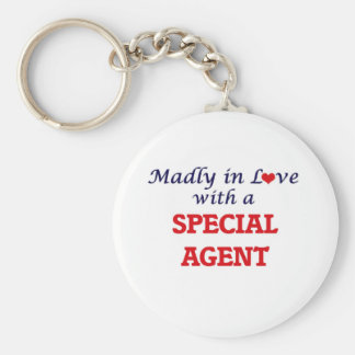 Madly in love with a Special Agent Basic Round Button Keychain
