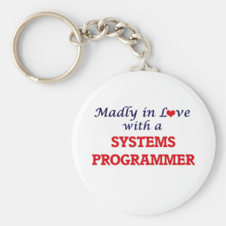 Madly in love with a Systems Programmer Basic Round Button Keychain