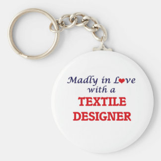 Madly in love with a Textile Designer Basic Round Button Keychain