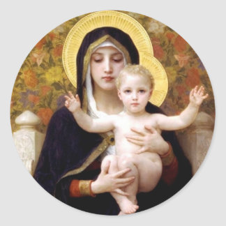 Madona with lilies Bouguereau antique painting Classic Round Sticker