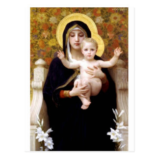 Madona with lilies Bouguereau antique painting Postcard