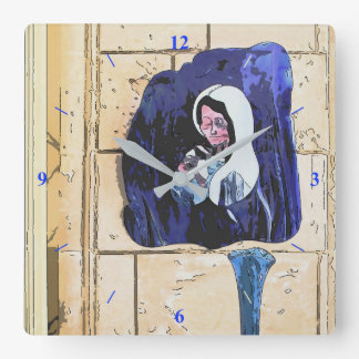 Madonna and Bottles Square Wall Clock