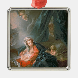Madonna and Child, 18th century Silver-Colored Square Ornament