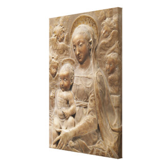 Madonna and Child Angels Marble Rustic Canvas Print