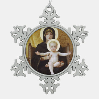 Madonna and Child Baby Jesus Snowflake Pewter Christmas Ornament