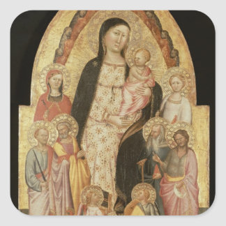 Madonna and Child Enthroned Square Sticker