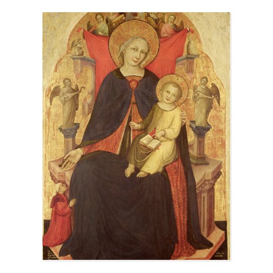 Madonna and Child Enthroned with Donor Vulciano Postcard