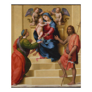 Madonna and Child Enthroned with Saints Mary Poster