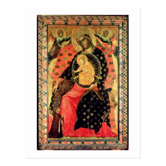Madonna and Child Enthroned with Two Devout People Postcard