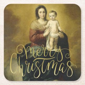Madonna and Child, Fine Art Christmas Square Paper Coaster