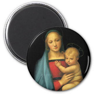 Madonna And Child, Madonna del Granduca by Raphael 2 Inch Round Magnet