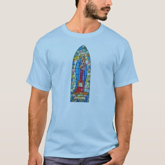 Madonna and Child Nativity Stained Glass Style T-Shirt
