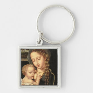 Madonna and Child Nursing Silver-Colored Square Keychain