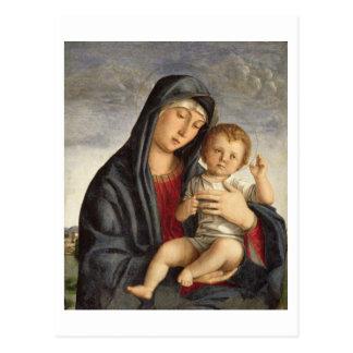 Madonna and Child (oil on panel) 2 Postcard