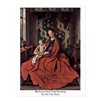 Madonna And Child Reading By Jan Van Eyck Postcard