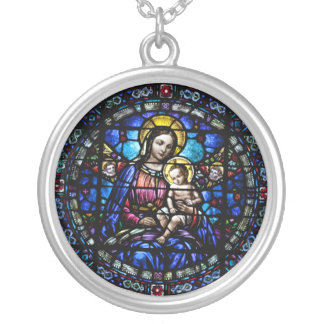 Madonna and Child Stained Glass Look Silver Plated Necklace