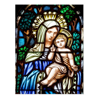 Madonna and Child - stained glass window Postcard