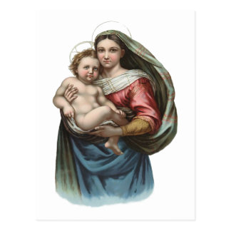 Madonna and Child Vintage Wrapping Paper Postcard