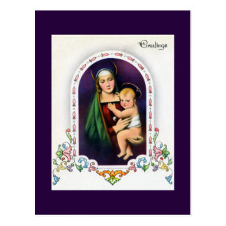 Madonna and Child With Decorated Oval Border Postcard