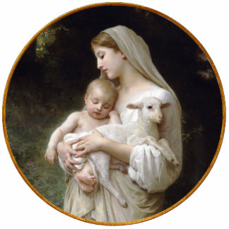 Madonna and Child with Lamb Christmas Ornament Photo Sculpture Ornament