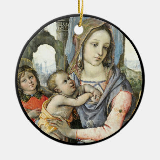 Madonna and Child with Saint Joseph and an Angel Ceramic Ornament