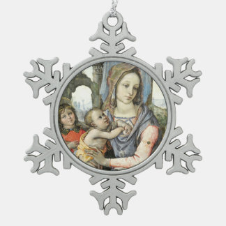 Madonna and Child with Saint Joseph and an Angel Snowflake Pewter Christmas Ornament