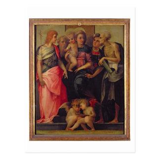 Madonna and Child with Saints, c.1518 (oil on pane Postcard