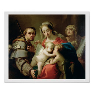 Madonna and Child with Saints John, Anna and Rocco Poster