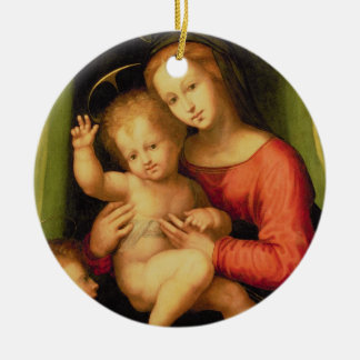 Madonna and Child with St. John Round Ceramic Ornament