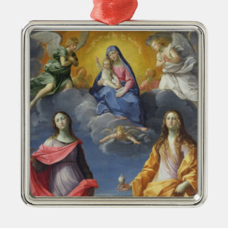 Madonna and Child with St. Lucy and Mary Magdalene Silver-Colored Square Ornament