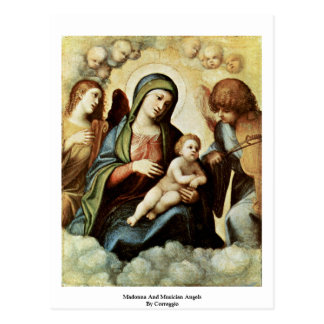 Madonna And Musician Angels By Correggio Postcard