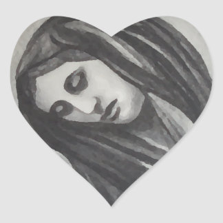 Madonna Ave Maria Mary Grey White Charcoal Heart Sticker
